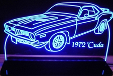 1972 Barracuda Cuda Acrylic Lighted Edge Lit LED Sign / Light Up Plaque Full Size Made in USA