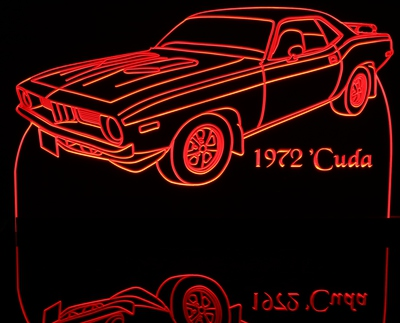 1972 Plymouth Barracuda Acrylic Lighted Edge Lit LED Car Sign / Light Up Plaque