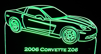 2006 Chevy Z06 Acrylic Lighted Edge Lit LED Car Sign / Light Up Plaque Corvette