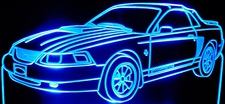 2002 Ford Mustang Acrylic Lighted Edge Lit LED Car Sign / Light Up Plaque