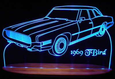 1969 Ford Thunderbird Acrylic Lighted Edge Lit LED Car Sign / Light Up Plaque