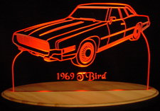 1969 Ford Thunderbird / Tbird Acrylic Lighted Edge Lit LED Car Sign / Light Up Plaque