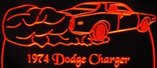 1974 Dodge Charger Acrylic Lighted Edge Lit LED Car Sign / Light Up Plaque