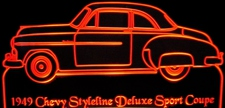 1949 Chevy Styleline Deluxe Sport Coupe Acrylic Lighted Edge Lit LED Sign / Light Up Plaque Full Size Made in USA