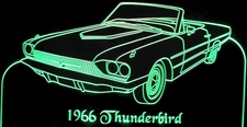 1966 Tbird Acrylic Lighted Edge Lit LED Sign / Light Up Plaque Thunderbird Convertible Full Size Made in USA
