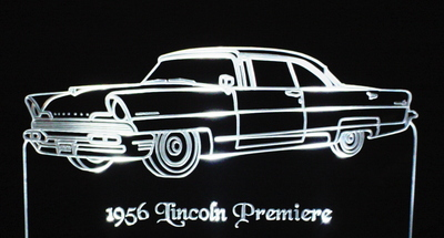 1956 Lincoln Premier Acrylic Lighted Edge Lit LED Car Sign / Light Up Plaque