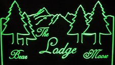 Bear Lodge Moose Trees Mountain Alps Scene Acrylic Lighted Edge Lit LED Sign / Light Up Plaque Full Size Made in USA