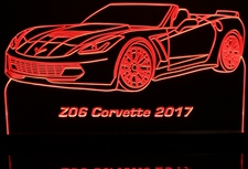 2017 Corvette Z06 Convertible Acrylic Lighted Edge Lit LED Sign / Light Up Plaque Full Size Made in USA