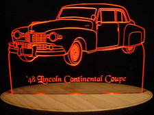 1948 Lincoln Continental Coupe Acrylic Lighted Edge Lit LED Car Sign / Light Up Plaque