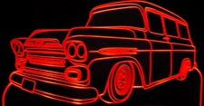 1952 Chevy Apache Acrylic Lighted Edge Lit LED Sign / Light Up Plaque Full Size Made in USA