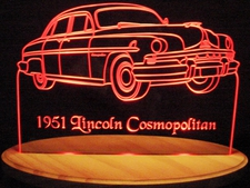 1951 Lincoln Cosmopolitan Acrylic Lighted Edge Lit LED Sign / Light Up Plaque Full Size Made in USA