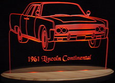 1961 Lincoln Continental Acrylic Lighted Edge Lit LED Car Sign / Light Up Plaque