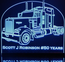 Semi Kenworth W900L with Sleeper (add your own text) Acrylic Lighted Edge Lit LED Sign / Light Up Plaque Full Size Made in USA