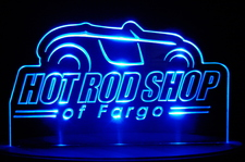 Hot Rod Shop Advertising Business Logo Acrylic Lighted Edge Lit LED Sign / Light Up Plaque Full Size Made in USA