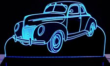 1939 Ford Deluxe Business Coupe Acrylic Lighted Edge Lit LED Sign / Light Up Plaque Full Size Made in USA