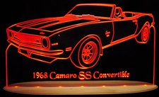 1968 Camaro SS Convertible Acrylic Lighted Edge Lit LED Sign / Light Up Plaque Full Size Made in USA