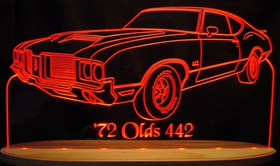 1972 Oldsmobile Cutlass 442 Olds Acrylic Lighted Edge Lit LED Sign / Light Up Plaque Full Size Made in USA