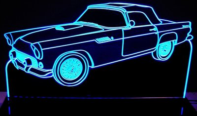 1955 Ford Tbird Acrylic Lighted Edge Lit LED Car Sign / Light Up Plaque Thunderbird