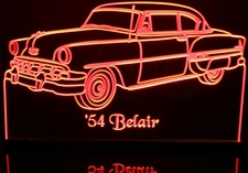 1954 Chevy Belair Acrylic Lighted Edge Lit LED Sign / Light Up Plaque Full Size Made in USA