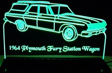1964 Plymouth Fury Station Wagon SW Acrylic Lighted Edge Lit LED Sign / Light Up Plaque Full Size USA Original