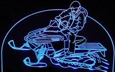 Snowmobile C Add Your Own Text Acrylic Lighted Edge Lit LED Sign / Light Up Plaque Full Size Made in USA