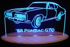 1968 Pontiac GTO Acrylic Lighted Edge Lit LED Car Sign / Light Up Plaque