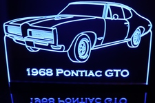 1968 Pontiac GTO Acrylic Lighted Edge Lit LED Sign / Light Up Plaque Full Size Made in USA