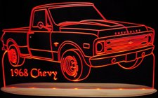 1968 Chevy Pickup Truck Acrylic Lighted Edge Lit LED Sign / Light Up Plaque Full Size USA Original