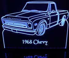 1968 Chevy Pickup Truck LH Acrylic Lighted Edge Lit LED Sign / Light Up Plaque Full Size USA Original