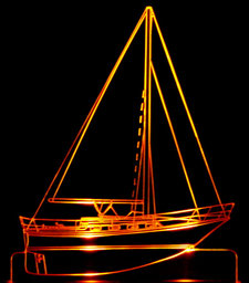 Yacht SAMPLE Pleasure Craft Acrylic Lighted Edge Lit LED Boat Sign / Light Up Plaque