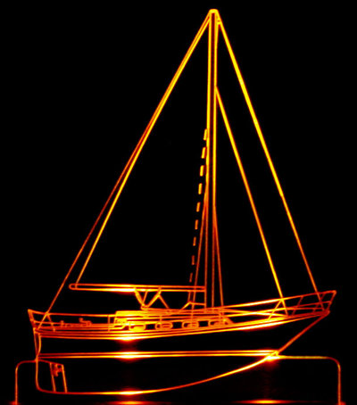 Yacht Boat Acrylic Lighted Edge Lit LED Sign / Light Up Plaque Full Size Made in USA