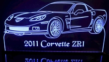 2011 Corvette ZR1 Acrylic Lighted Edge Lit LED Sign / Light Up Plaque Full Size USA Original