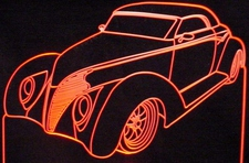 1939 Ford Coast to Coast Acrylic Lighted Edge Lit LED Car Sign / Light Up Plaque