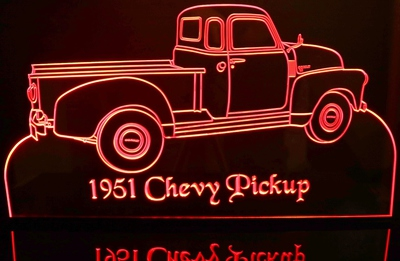 1951 Chevy Pickup Truck Acrylic Lighted Edge Lit LED Sign / Light Up Plaque Full Size USA Original