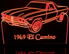1969 El Camino Acrylic Lighted Edge Lit LED Sign / Light Up Plaque Full Size USA Original