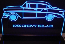1956 Chevy Belair Acrylic Lighted Edge Lit LED Sign / Light Up Plaque Chevrolet Full Size Made in USA