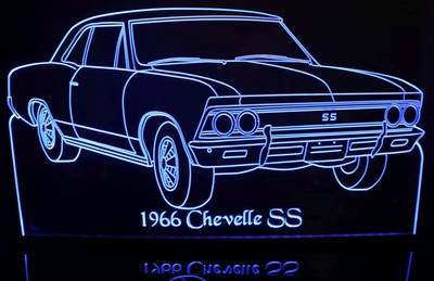 1966 Chevrolet Chevelle SS Acrylic Lighted Edge Lit LED Car Sign / Light Up Plaque Chevy