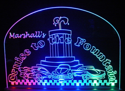 Cruise To The Fountain Advertising Business Logo Acrylic Lighted Edge Lit LED Sign / Light Up Plaque Full Size Made in USA