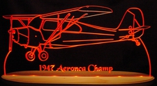 1947 Aeronca Champ Acrylic Lighted Edge Lit LED Sign / Light Up Plaque Full Size USA Original