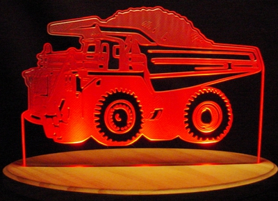 Dump Truck Acrylic Lighted Edge Lit LED Sign / Light Up Plaque Full Size Made in USA