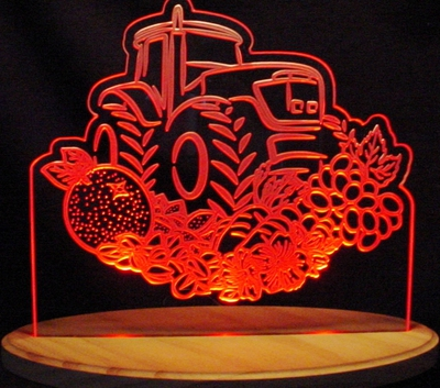 Tractor Farm Agriculture Acrylic Lighted Edge Lit LED Sign / Light Up Plaque Full Size Made in USA