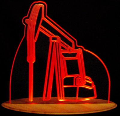 Oil Rig Pump Jack Oil Well Acrylic Lighted Edge Lit LED Sign / Light Up Plaque Full Size Made in USA