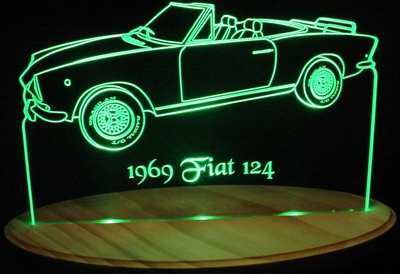 1969 Fiat 124 Spider Acrylic Lighted Edge Lit LED Car Sign / Light Up Plaque