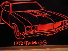 1970 Buick GS Acrylic Lighted Edge Lit LED Sign / Light Up Plaque Full Size USA Original