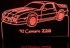 1992 Chevy Camaro Z28 Chevrolet Acrylic Lighted Edge Lit LED Car Sign / Light Up Plaque