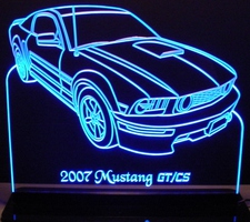 2007 Mustang GT/CS LH Acrylic Lighted Edge Lit LED Sign / Light Up Plaque Full Size Made in USA