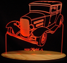 1930 Ford Model A Sedan Acrylic Lighted Edge Lit LED Car Sign / Light Up Plaque