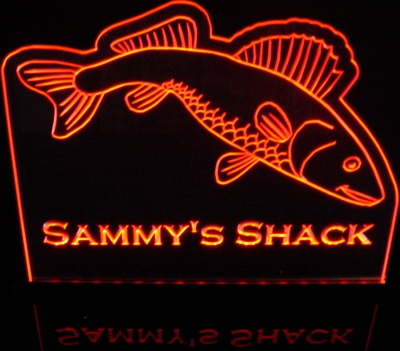 Fish Walleye Pike Bass (add your own text) Acrylic Lighted Edge Lit LED Sign / Light Up Plaque Full Size Made in USA