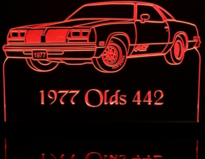 1977 Olds Cutlass 442 Oldsmobile Acrylic Lighted Edge Lit LED Sign / Light Up Plaque Full Size Made in USA