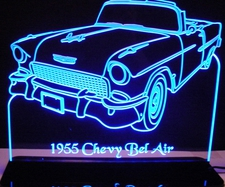 1955 Chevy Belair / Bel Air Convertible Acrylic Lighted Edge Lit LED Sign / Light Up Plaque Full Size Made in USA
